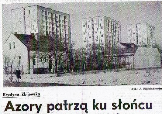 Mała stabilizacja Gomułki: Narodziny nowego robotniczego osiedla śledzono w prasie. Na ilustracji wycinek z Dziennika Polskiego z 1969 roku. Źródło: www.osiedleazory.pl.