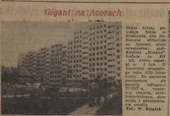 """Mała stabilizacja Gomułki """"Takiego bloku jak tysięcznik jeszcze w Krakowie nie było"""". Na ilustracji wycinek z Dziennika Polskiego z 1969 roku."""