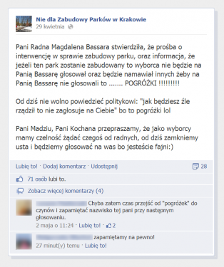 Źródło: Nie dla zabudowy parków w Krakowie/FB.
