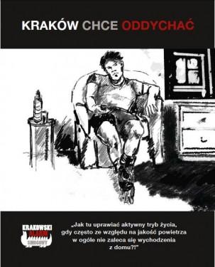 Jeden z plakatów przygotowanych przez KAS. Źródło: www.facebook.com/KrakowskiAlarmSmogowy.