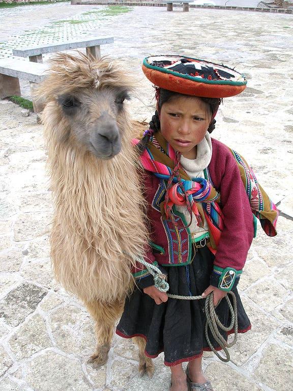 Lama z dziewczynką. Źródło: wikimedia commons.