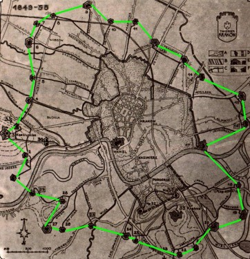 Ilustracja 1: Tak mogłaby wyglądać trasa spacerowa/biegowa/rowerowa gdyby zmienić forty zgodnie z koncepcją Janusza Boganowskiego.