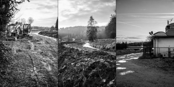 Z lewej : Do pracy używany jest ciężki sprzęt. W środku: Rudawa pod skałą Kmity, dosłownie kilkanaście metrów stąd jest rezerwat przyrody. Z prawej. W tle most na drodze krajowej numer 79 w Zabierzowie. W Czerwcu tego roku poziom wody w Rudawie był tak wysoki, ze woda wdarła się na jezdnie, ruch na moście został wstrzymany. Obok widać jeden z budynków zbudowany na terenie zalewowym przy samej rzece.