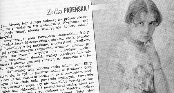 """Zofia Pareńska. Źródło: """"Boy o Krakowie"""", red. Henryk Markiewicz."""