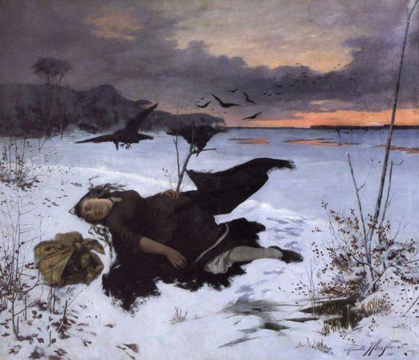 """""""Zdobycz kruków"""", Marceli Harasimowicz, 1884. Źródło: mat. prasowe MCK."""