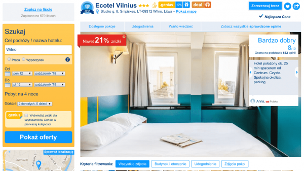 Sympatycznie wyglądający Ecotel Vilnius. Źródło: reklama hotelu na portalu Booking.com.