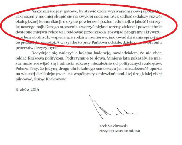 Fragment programu wyborczego Jacka Majchrowskiego