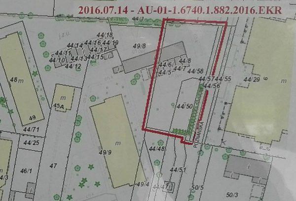 Fragment mapy z zaznaczonym miejscem inwestycji