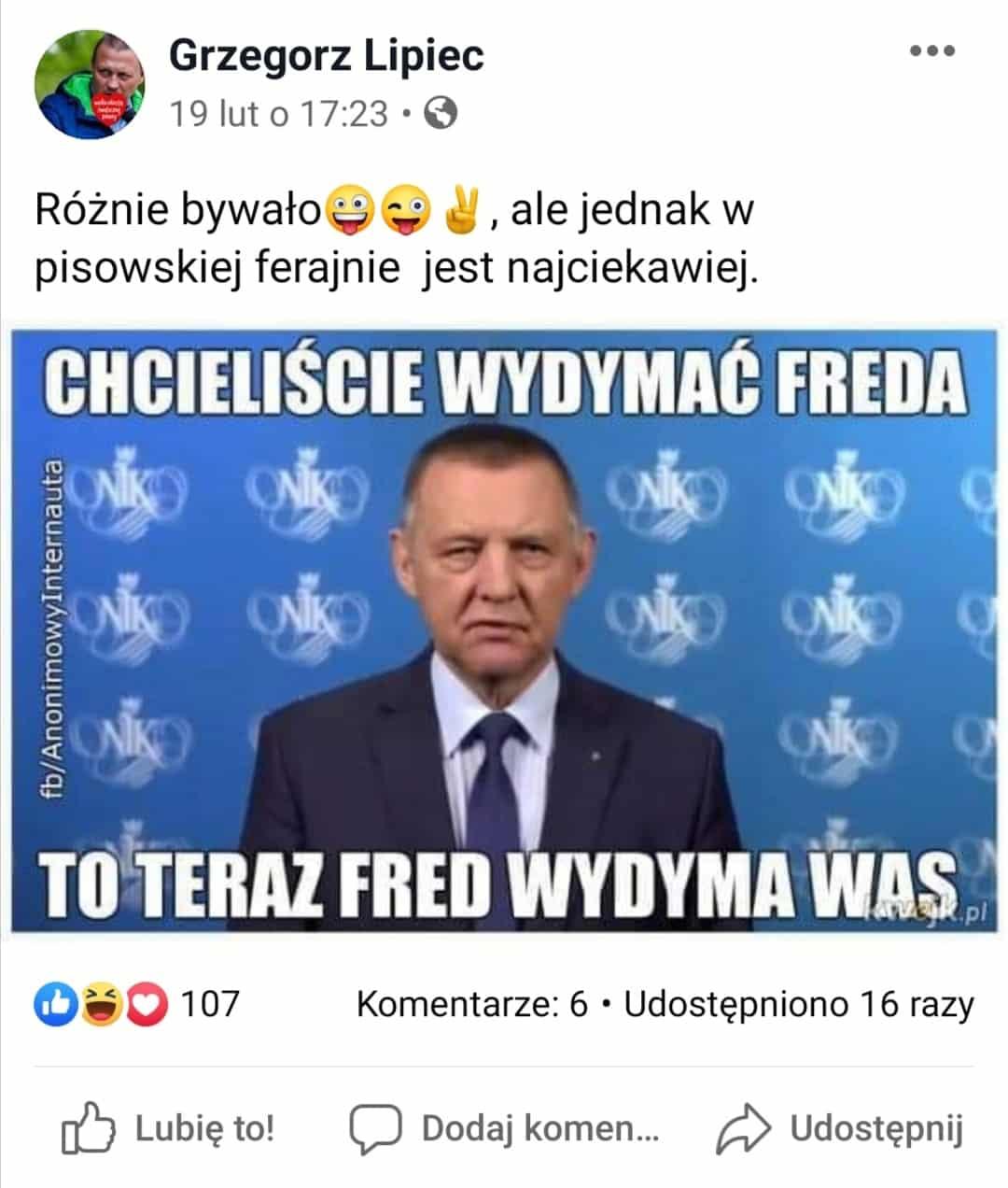 Grzegorz Lipiec Dymanie Freda
