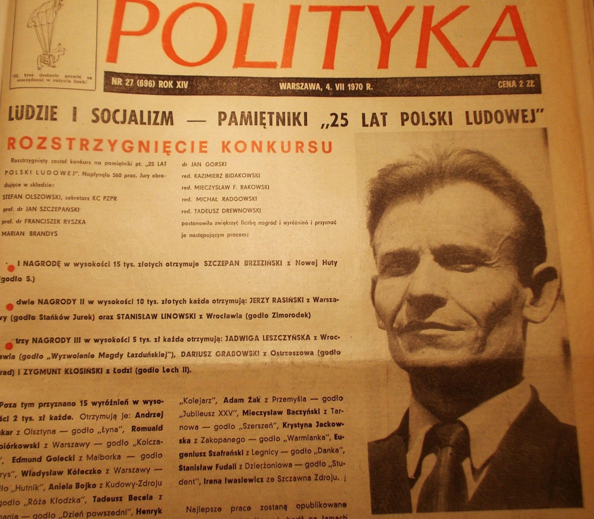 Szczepan Brzeziński w tygodniku Polityka. Nowa Huta była jego dzielnicą.