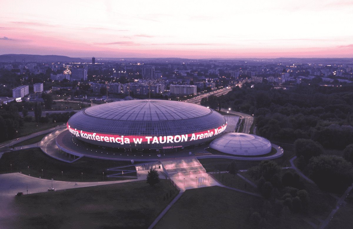 Reklama na Tauron Arenie Tauron Arena Krowoderska Łukasz Wantuch