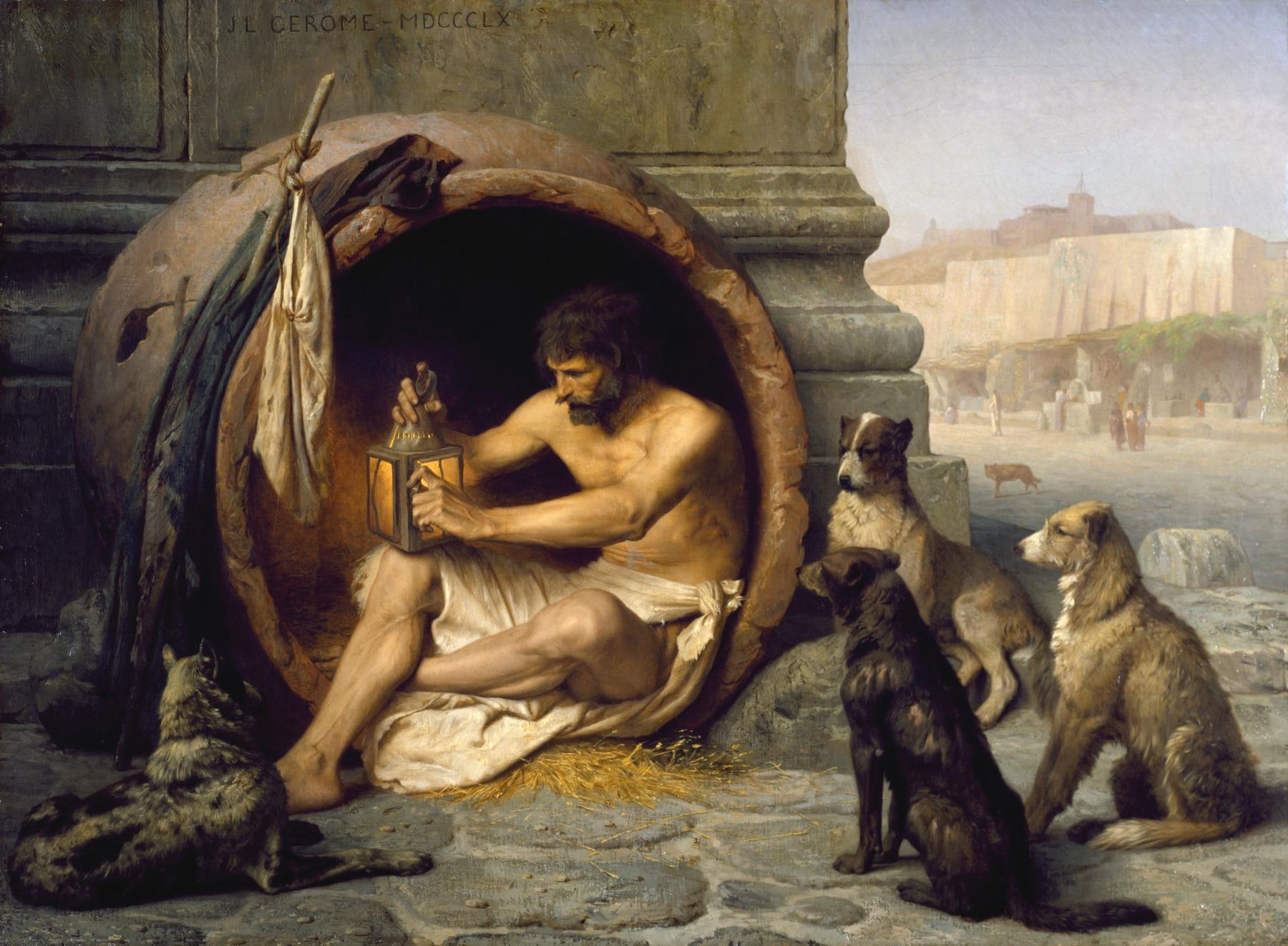 Diogenes mieszkający w beczce był cynikiem. Stoicyzm i minimalizm, inaczej niż cynicy, nie radzą, by wyzbyć się wszystkich rzeczy. Radzą, by się do nich nie przywiązywać i korzystać z nich mądrze. [Jean-Léon Gérôme - Walters Art Museum. Licencja CC.]