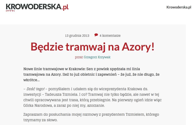 Prezydent Tadeusz Trzmiel. Tramwaj na Azory