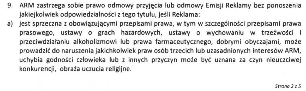 Fragment regulaminu emisji reklam, na który powołała się krakowska Arena.