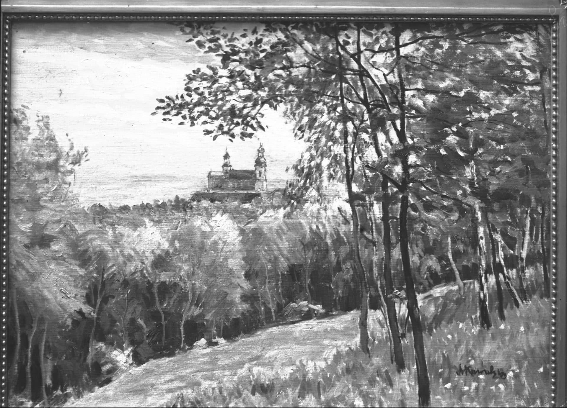 Srebrna Góra. Kościół Wniebowzięcia Najświętszej Maryi Panny na Bielanach w Krakowie. Obraz autorstwa Leona Kowalskiego. 1929 rok.