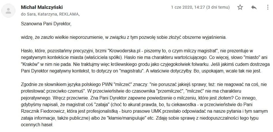 Krowoderska.pl Korespondencja ze spółką miejską Arena Kraków
