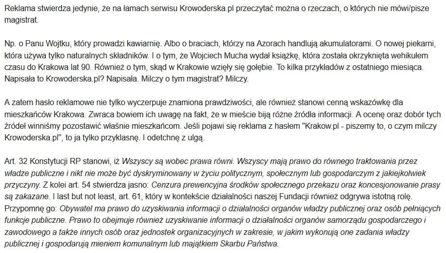 Krowoderska.pl Korespondencja ze spółką miejską Arena Kraków. Krakowska Arena