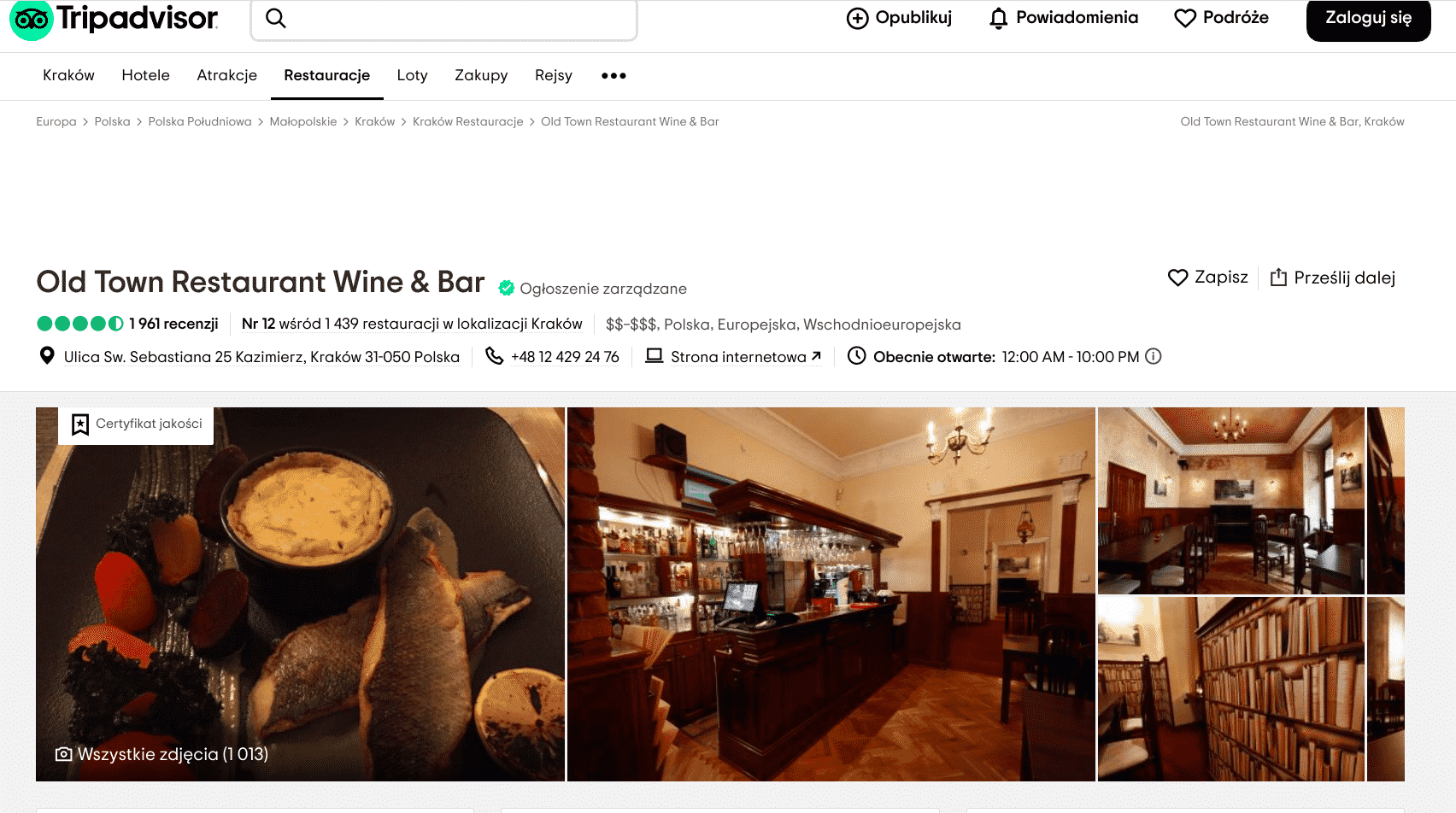 Najlepsze restauracje w Krakowie: Old Town Restaurant Wine & Bar otrzymał oceny 5.0, kiedy chodzi o atmosferę i obsługę.
