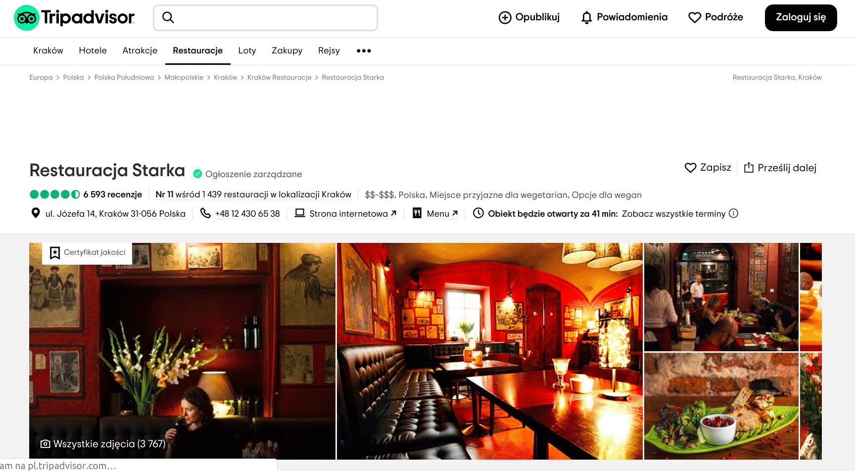 """Prawie 5 tys. użytkowników serwisu Trip Advisor wystawiło restauracji Starka opinię """"doskonała"""". To powoduje, że lokal znajduje pewne miejsce w kategorii 10 najlepszych restauracji w Krakowie."""