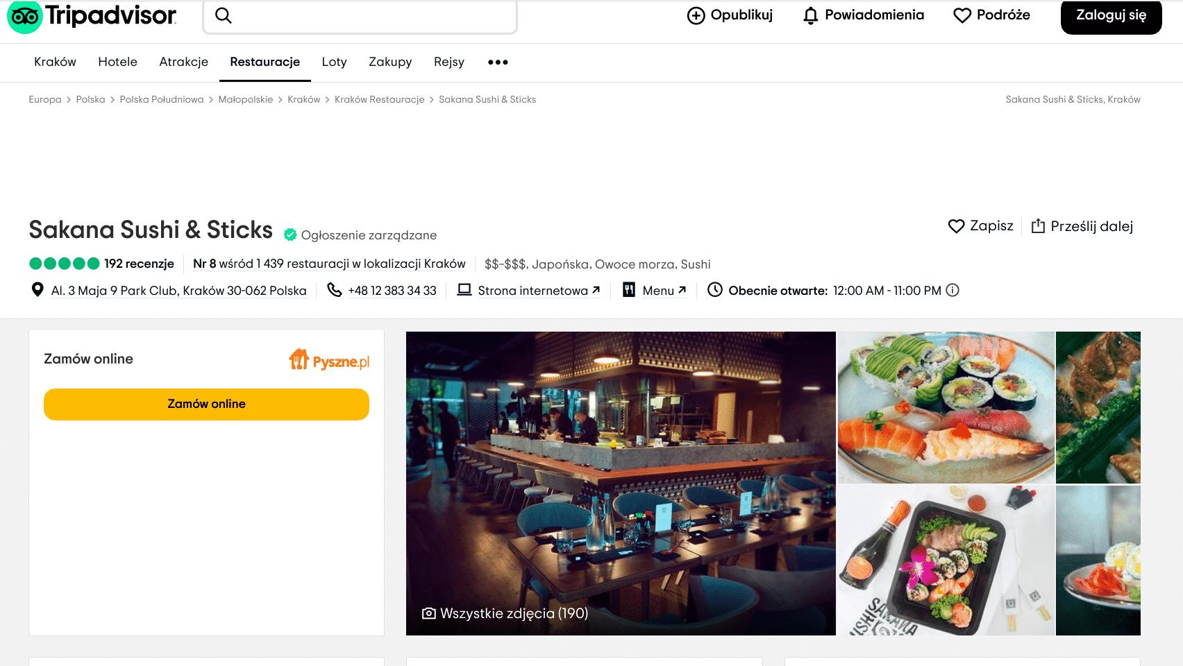 Najlepsze restauracje w Krakowie: Jedzenie serwowane przez Sakana Sushi & Sticks zostało ocenione na 5.0. Trip Advisor Kraków.