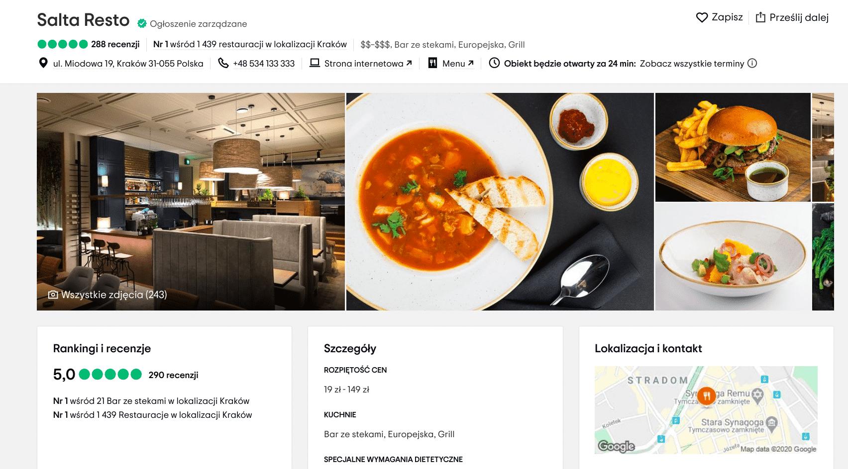 Najlepsze restauracje w Krakowie według użytkowników Trip Advisor: w kategorii ceny umiarkowane pierwsze miejsce zajęła restauracja Salta Resto, która znajduje się przy ulicy Miodowej.