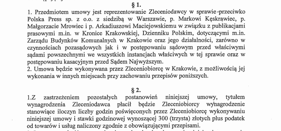 Fragment umowy, którą Zarząd Budynków Komunalnych zawarł z zewnętrzną kancelarią prawną, która miała go reprezentować w sprawie przeciwko dziennikarzom, którzy ujawnili patologie w urzędzie.
