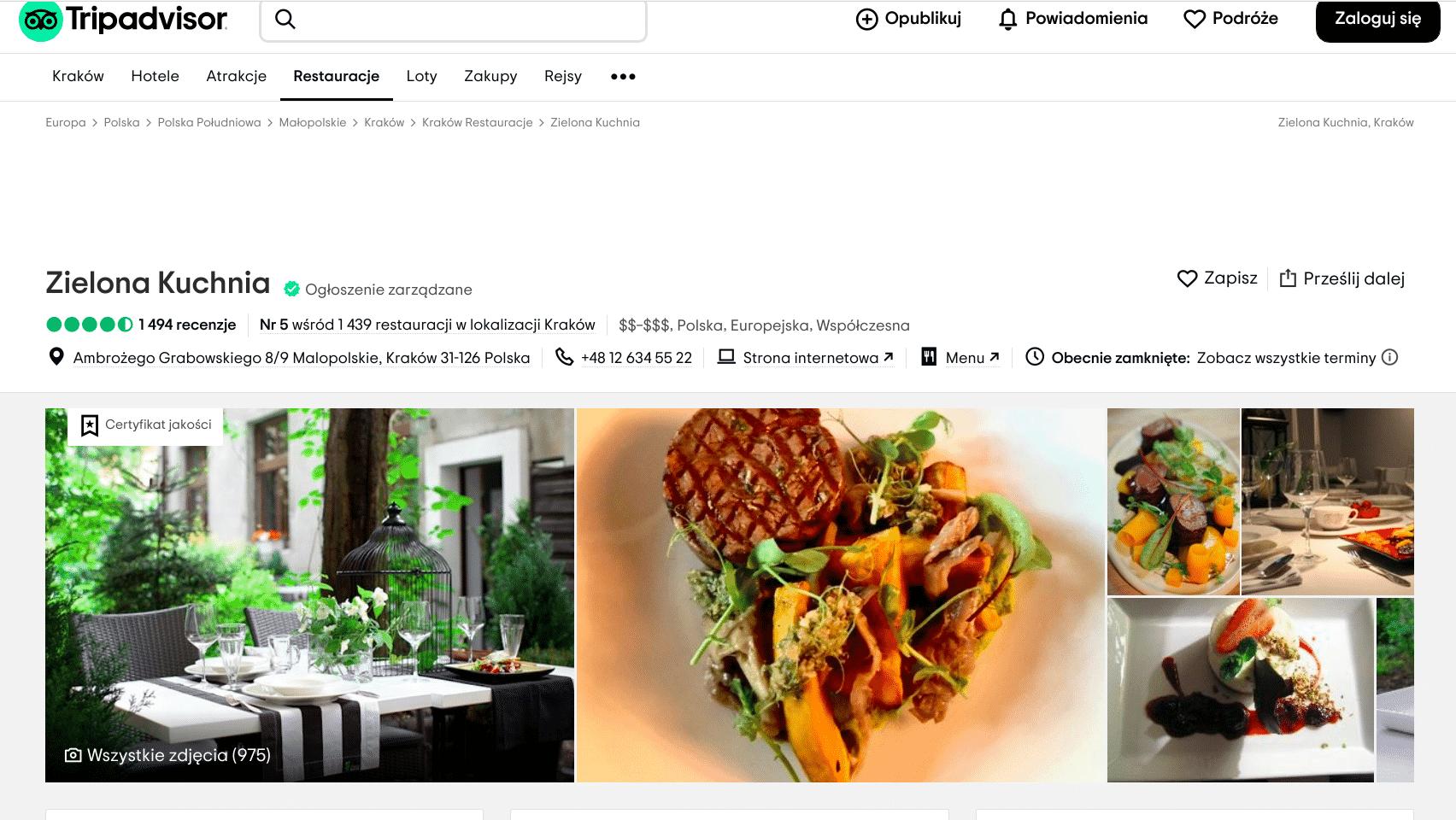 Zielona Kuchnia to lokal znajdujący się przy ulicy Ambrożego Grabowskiego. Turyści zaliczają go do kategorii najlepsze restauracje w Krakowie. 10 najlepszych restauracji w Krakowie.