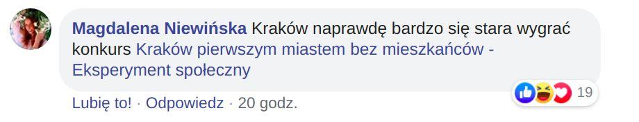 Komentarz ze strony Platforma Komunikacyjna Krakowa.