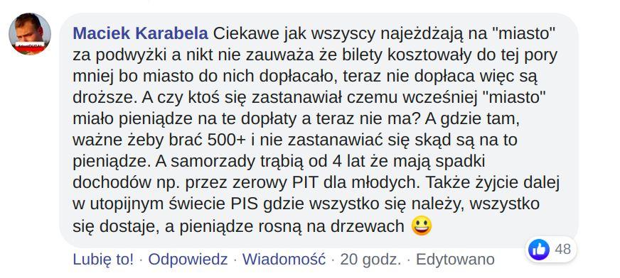 Podwyżki cen biletów MPK Kraków. Obrona. Krakowski Alarm Smogowy.