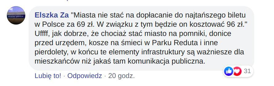Komentarz zamieszczony na stronie KMK-zza kółka.