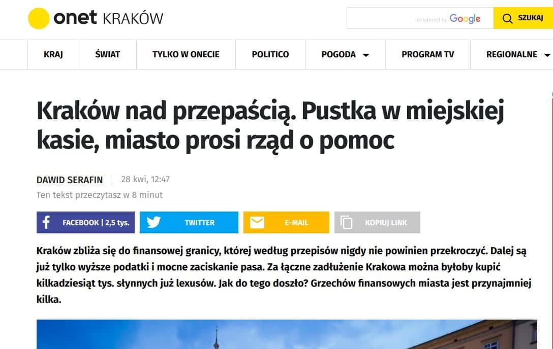 Dawid Serafin pod koniec kwietnia zaalarmował o problemach finansowych Krakowa.