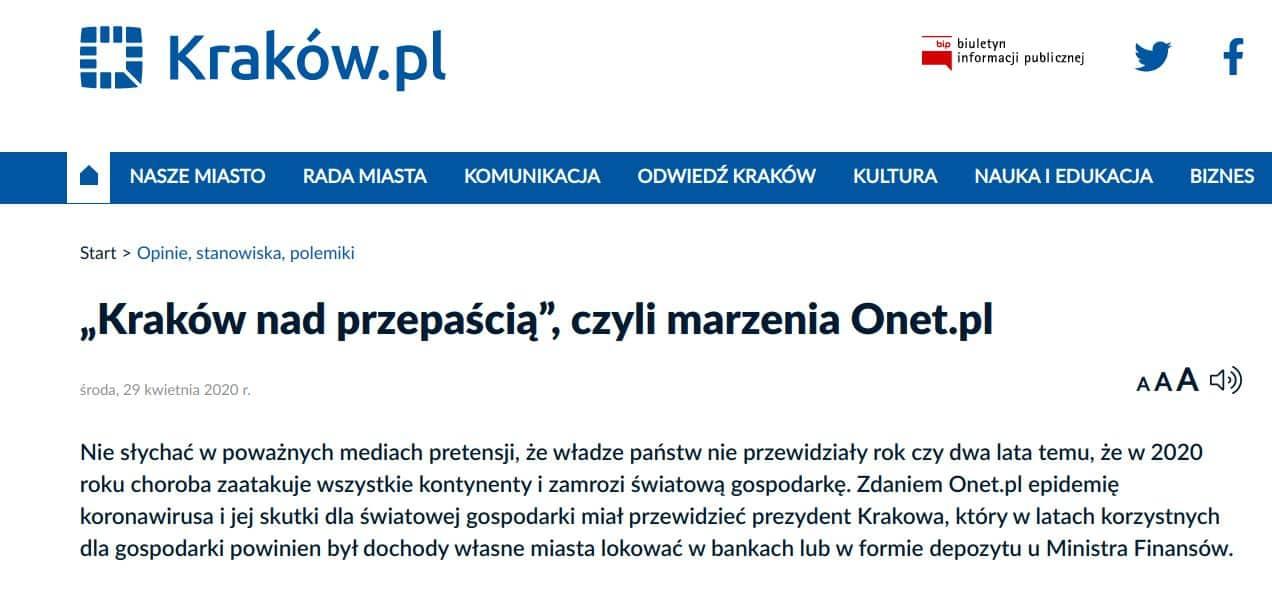 Sprostowanie do artykułu Dawida Serafina, w którym informował, że finanse Krakowa są w bardzo złym stanie.