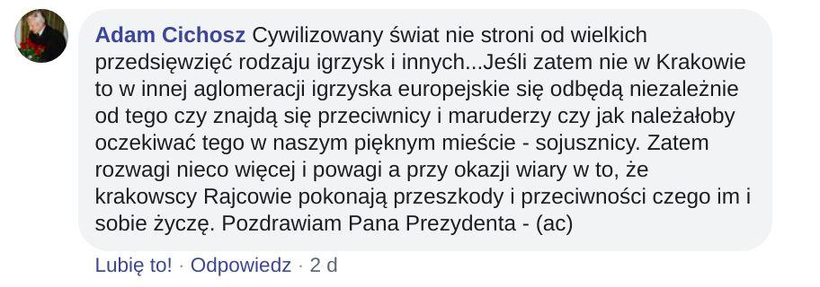 Igrzyska europejskie w Krakowie mają też zwolenników. Ich głosy były jednak w mniejszości.