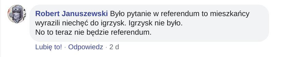 """Pytano, czy impreza """"igrzyska europejskie w Krakowie"""" nie wymaga referendum."""