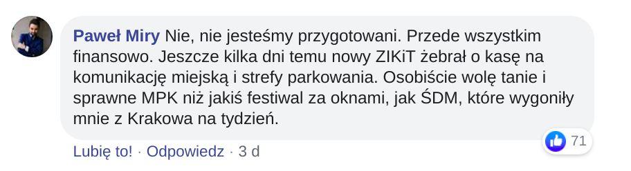Wielu krakowian, podobnie jak pan Paweł, pisało, że ponad igrzyska europejskie w Krakowie przedkładają dofinansowanie MPK.