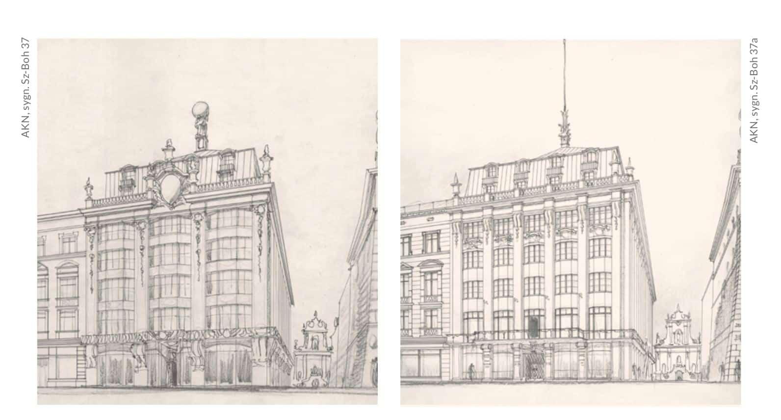 Neobarokowe koncepcje architektoniczne gmachu Towarzystwa Ubezpieczeniowego Feniks.