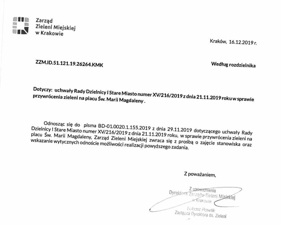 Dokument własnoręcznie podpisany przez jednego z zastępców Piotra Kempfa.