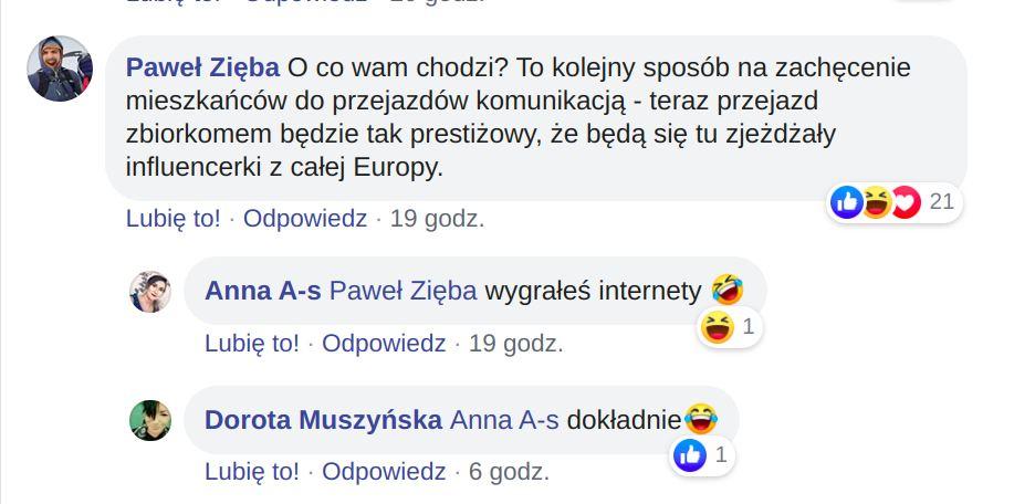 Komentarze zamieszczone na stronie Platforma Komunikacyjna Krakowa. Podwyżki cen biletów w Krakowie.
