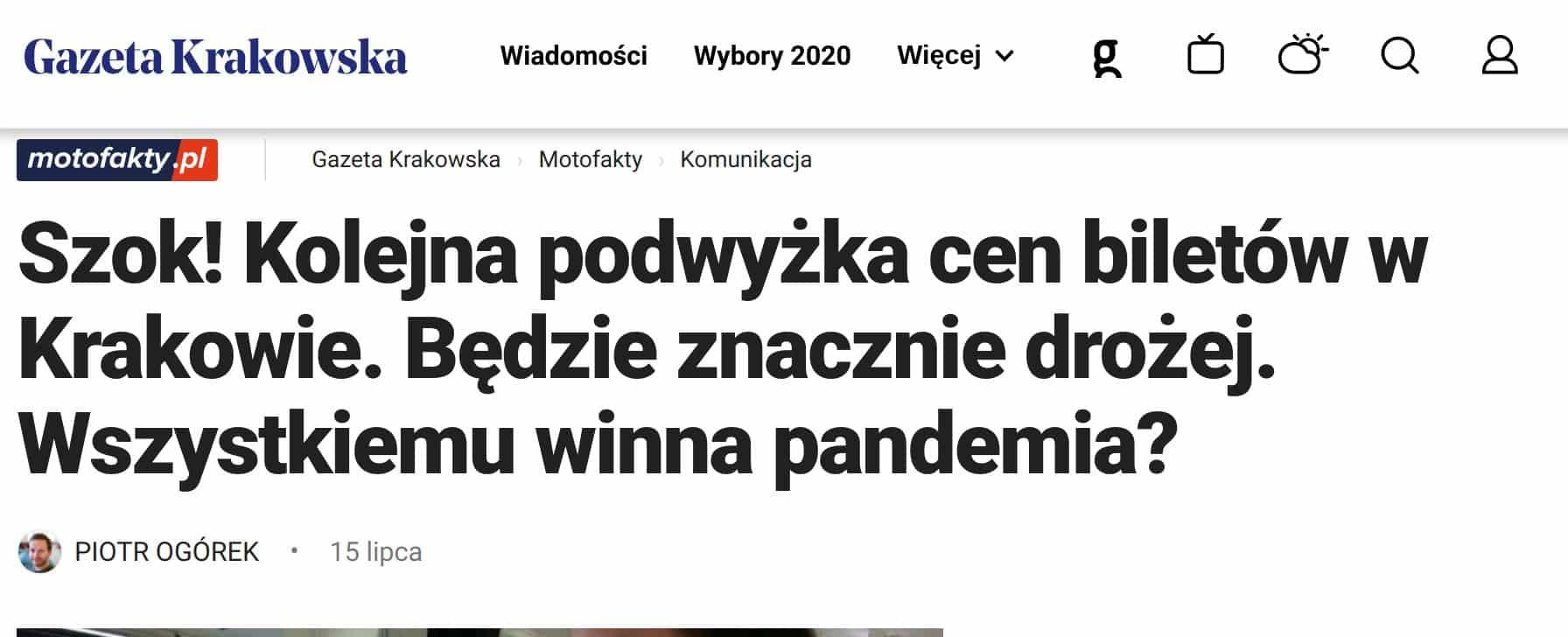 W lipcu zapowiedziano podwyżki cen biletów, które są związane z bardzo złą sytuacją finansową Krakowa.