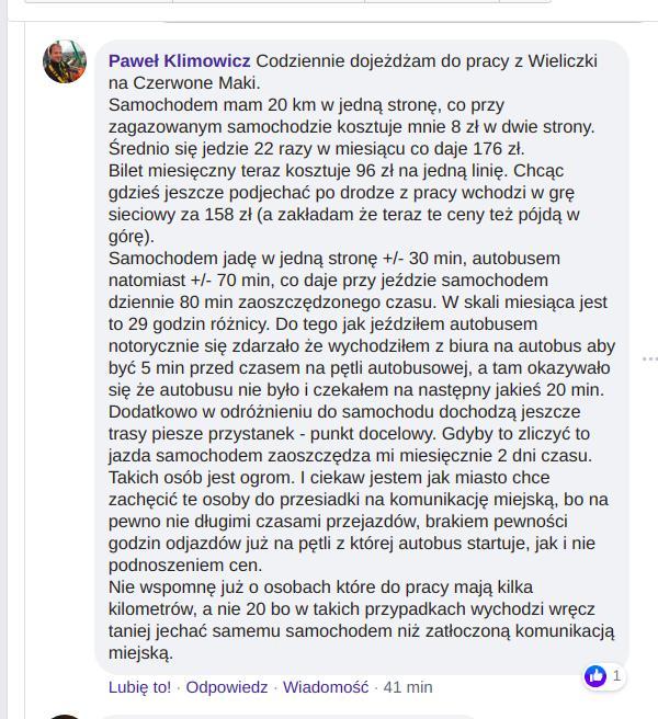 Podwyżki cen biletów w Krakowie. Komentarz ze strony Krakowskiego Alarmu Smogowego.