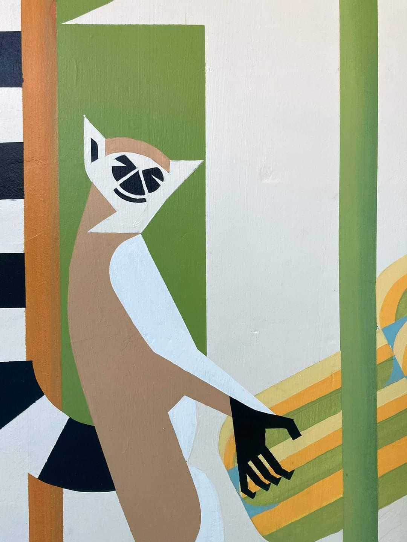 Lemur Katta. Szkoła. Korytarz. mural.