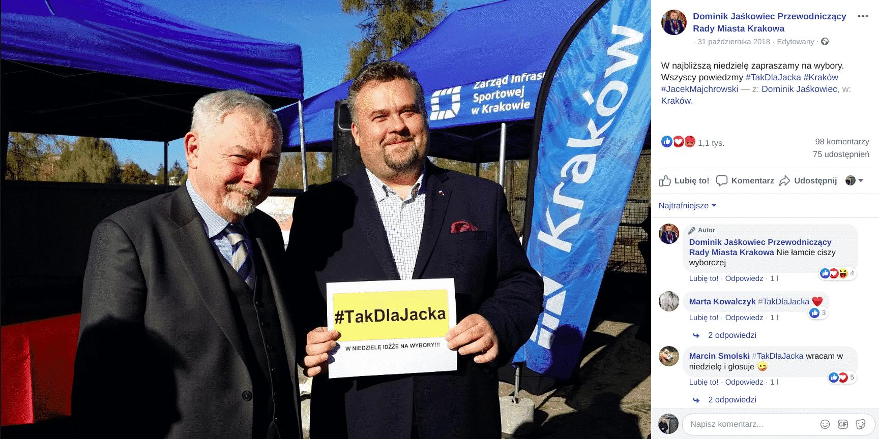 Zadowolony Dominik Jaśkowiec zachęca do głosowania na prezydenta Jacka Majchrowskiego. Fot. FB Dominika Jaśkowca.