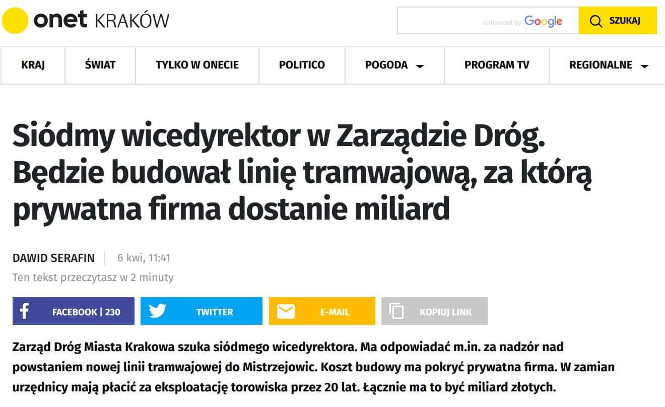 Ale w kwietniu zdecydowano, że to za mało i Zarząd Dróg Miasta Krakowa postanowił zatrudnić siódmego.
