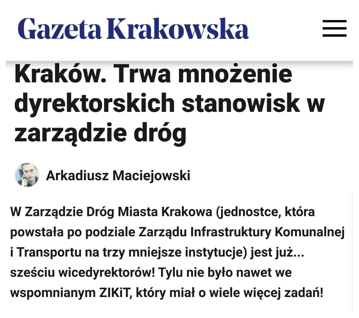 W marcu Zarząd Dróg Miasta Krakowa zatrudniał sześciu wicedyrektorów.