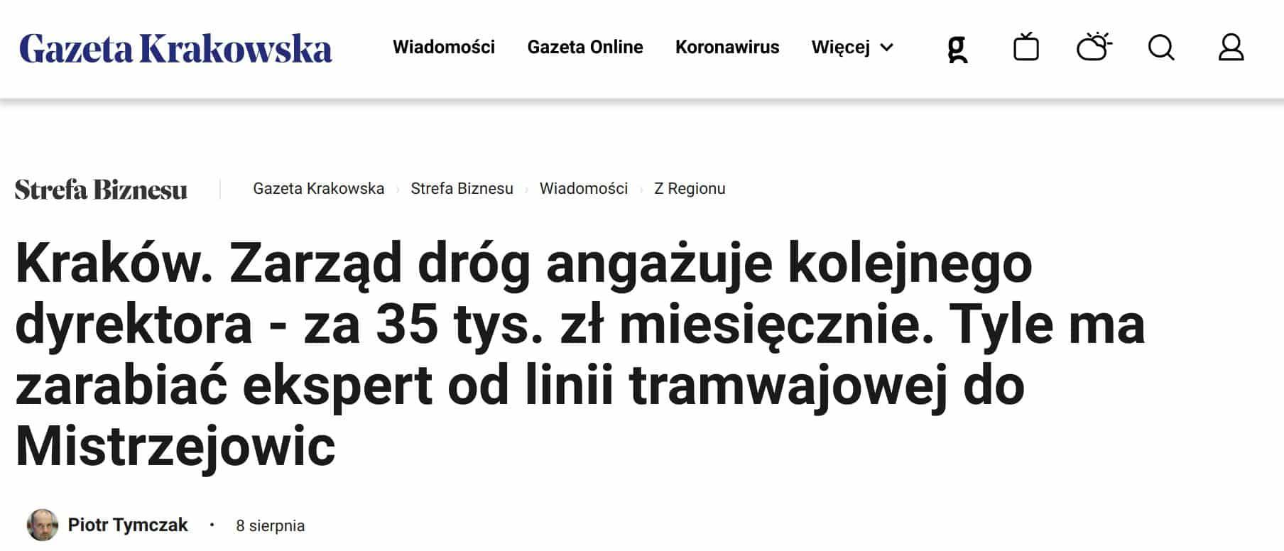 Zarząd Dróg Miasta Krakowa Praca