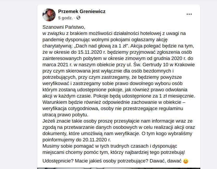 Aparthotel w centrum Krakowa Pergamin Przemek Greniewicz osoby w kryzysie bezdomności