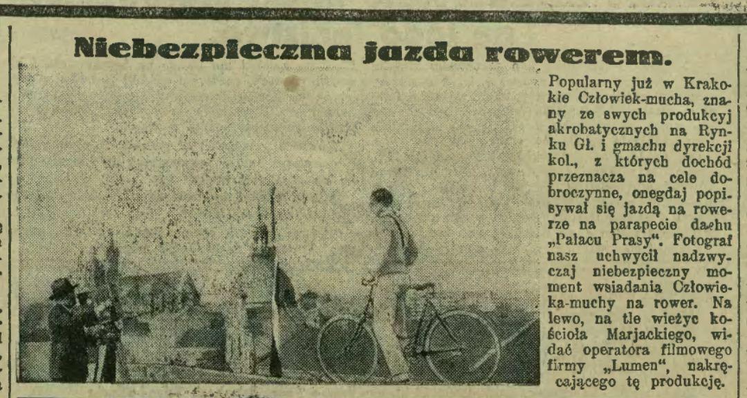 Człowiek-mucha Kraków Pałac Prasy Niebezpieczna jazda rowerem.