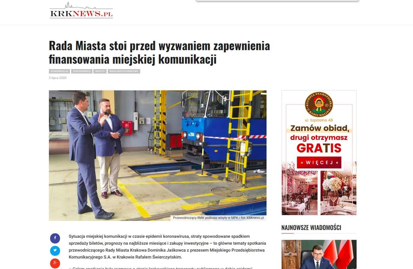 Gospodarska wizyta w MPK. Przewodniczący Rady Miasta Krakowa Dominik Jaśkowiec zapewniał, że jest gotowy pomóc w zakupieniu czwartej transzy nowoczesnych tramwajów.
