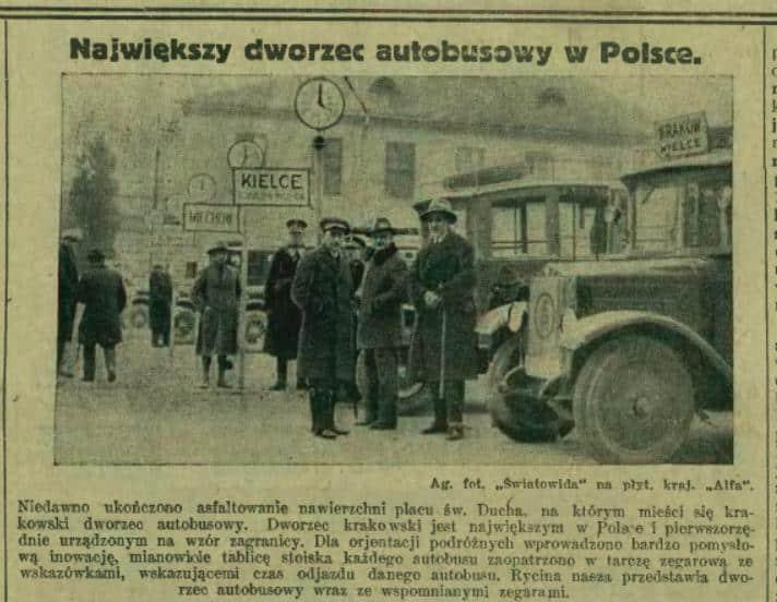 Ilustrowany Kurier Codzienny informował o otwarciu dworca autobusowego na placu św. Ducha w Krakowie.