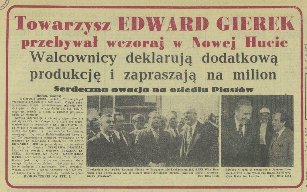 Edward Gierek Nowa Huta